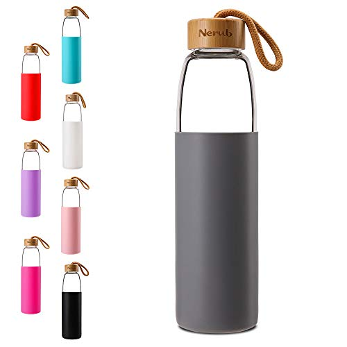 NERUB 22 OZ BPA Free Borosilicate Thick Glass Water Bottle with Bamboo Lid and Silicone Protective Sleeve - Dishwasher Safe (Charcoal Gray) (Hello Glass Water Bottle)