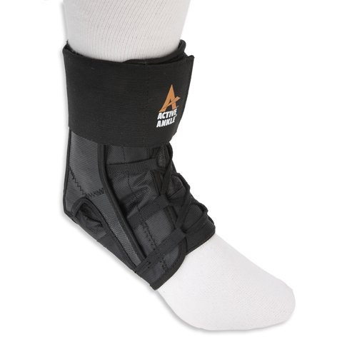 Active Ankle Power Lacer Premium Lace-Up Ankle Brace, Ankle Stabilizer for Protection & Sprain Support, Breathable Quality Athletic Braces with Laces to Wear Over Compression Socks, Black, X-Small