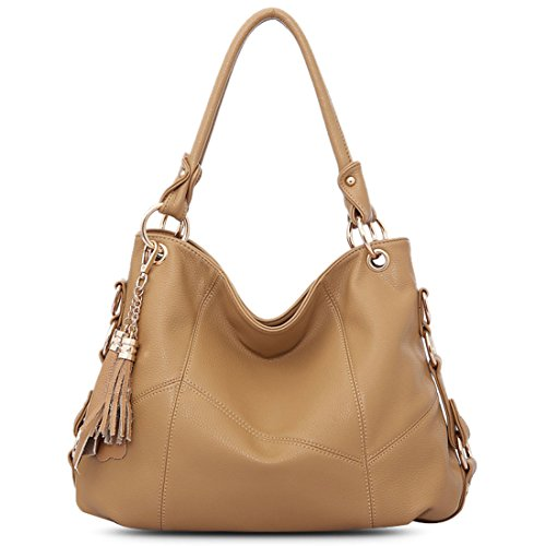 Vintga Genuine Leather Tote Bag Top Handle Satchel Handbag Tassel Shoulder Bag Large Purse Crossbody Bag for Women (Khaki) ()