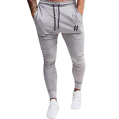 New Men Pants Long Elastic Waist Drawstring Pockets Running Jogger Athletic Sport Sweatpants Sports Trousers Gray XXL