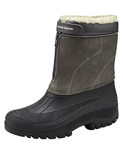Cotton Traders Unisex Waterproof Highland Faux Fur Lined Boots Grey