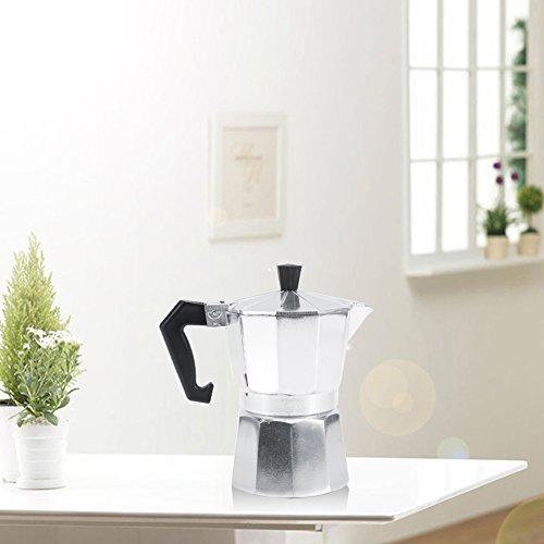 Moka Pot Aluminum Italian Type Moka Pot Espresso Maker with Handle Suitable for Ceramic Stovetops Home Office Use 3/6/9/12 Cups(450ML 9cups)