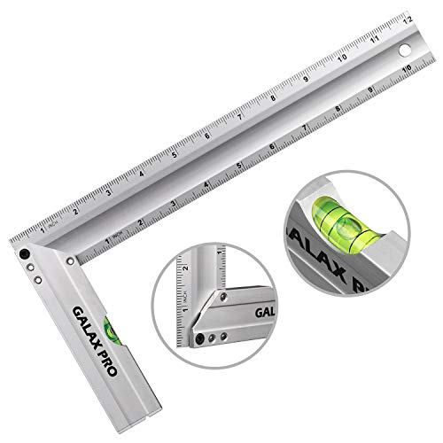 Level & Measuring Layout Tool, GALAX PRO 12-inch L-Shaped Aluminum Try Square with Spirit Level, Green Level Bubble, Aluminum Alloy Handle, Hanging Hole, Ideal for Measuring Right Angle
