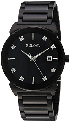 Bulova Men's 98D121 Analog Display Japanese Quartz Black Watch (Mens Bulova Diamond Black Dial)