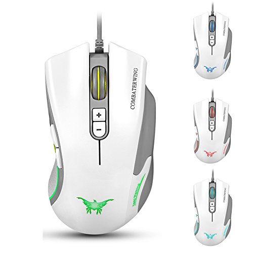 Combaterwing CW10 4800 DPI Wired Gaming Mouse Mice 7 Buttons Design 6 Breathing LED Colors Changing High Precision for Gamer PC MAC (CW10 White)