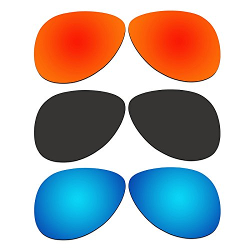 3 Pair ACOMPATIBLE Replacement Polarized Lenses for Oakley Elmont Large 60mm Sunglasses OO4119-xx60 Pack - Oo4119