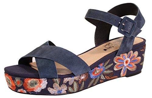 Sandalo Chelsea Platform Operato Da Uomo - Pelle Scamosciata Blu Scuro