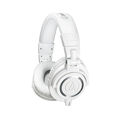 Audio-Technica ATH-M50x Professional Monitor Headphones (White) + Tekline Active Replacement Cable + Headphone Case by K&M (Image #1)