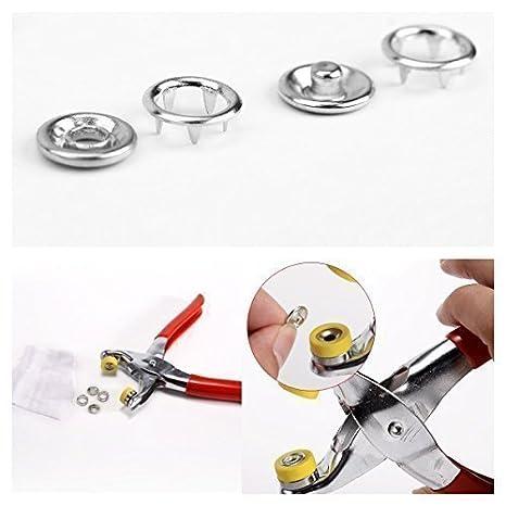 Trimming Shop 100 Piezas 11mm Plateado Broches de presión Poppers + alicates de ajuste para Ropa y Manualidades Proyectos: Amazon.es: Hogar