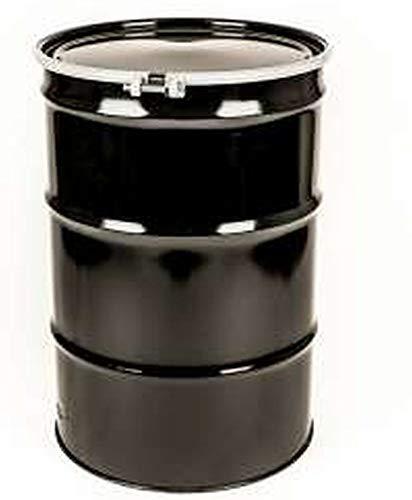 - 55 Gal Steel Drum Open-Head| Black | Metal Barrel | Rust Inhibitor Lining | Bolt Ring Closure