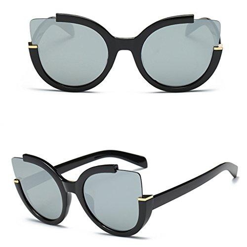 Doober Women Retro Vintage Mirrored Lens Sports Cat Eye Oversized Sunglasses Shades (White, - Oversized Sunglasses Oval