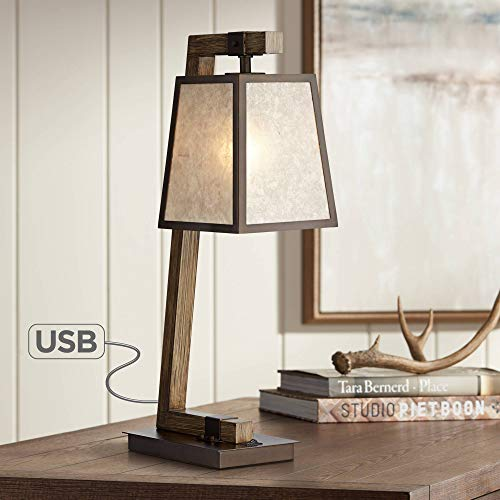 (Tribeca Rustic Table Lamp with USB Charging Port Metal Base Light Mica Shade for Living Room Bedroom Bedside Nightstand Office Family - Franklin Iron Works)