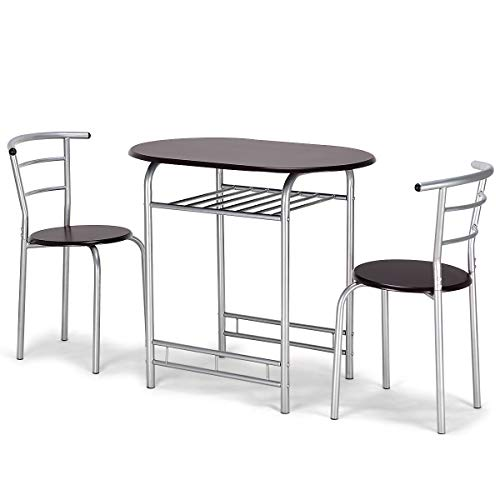 Giantex Bistro Dining Set Table and 2 Chairs Kitchen Furniture Pub Home Restaurant Table Chair Sets, 3 PCS (Coffee)