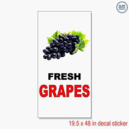 Fresh Grapes Black Red Bar Restaurant Vinyl Decal Label Sticker Retail Store Sign - Sticks to Any Clean Surface 19.5 x 48 ()