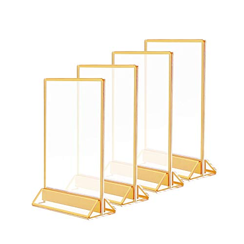 8.5x11 Acrylic Commercial Menu HoldersGold Borders and Vertical StandClear Double Sided Frames Display Sign Holder for SignsPicturesWedding TableRestaurant SignsPhotosArt DisplayPack of 4