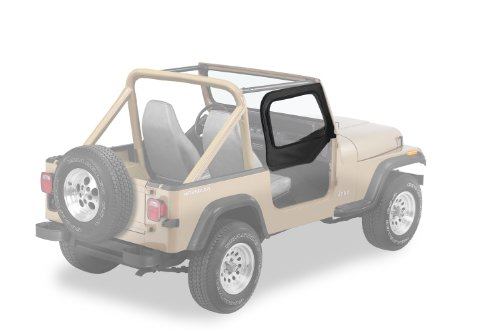 Bestop 53121-35 Black Diamond Fabric Replacement Upper Door Skin Set for 1997-2006 Wrangler TJ - Bestop Replacement Windows