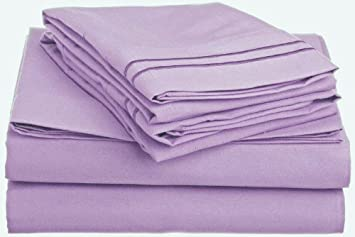 new styles 5b9e5 9c5c5 Anili Mili 1800 Collection 6-Piece Bed Sheet Set with Bonus Pillowcases,  Queen, Lavender
