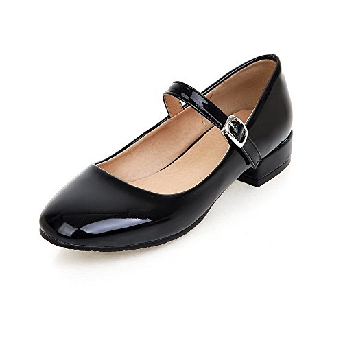 Solid Toe Shoes Black Low PU Pumps Buckle Women's Closed Square Heels VogueZone009 gHRw0Y