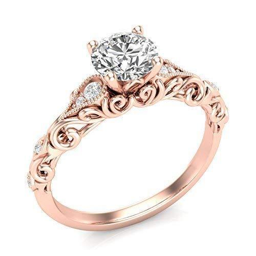 (14K Rose Gold Vintage Engagement Ring Filigree Milgrain Art Deco Ring Forever One Colorless Moissanite Center)