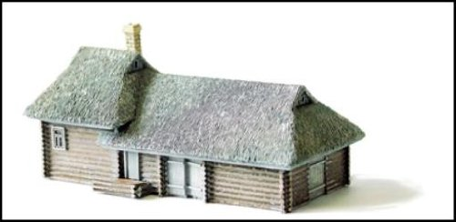 Terrain Maker Pewter Buildings & Books Large Log House & Barn w/Thatch Roof (Thatch House)