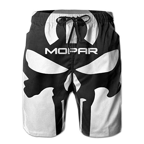 Mopar Short - Men's Beach Shorts Mopar Logo Summer Quick Dry Swimming Pants White