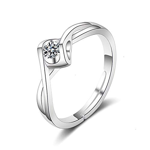Madeone ✦18K White Gold Plating Heart Angel Kiss Rings Excellent Cut Cubic Zirconia CZ Stone Adjustable Rings for Women with Box Packing ()