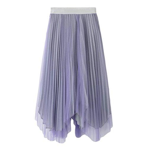 Irrgulier Midi Jupe Violet Jupes Soie de Plisse Rtro de en Yiiquanan Femmes Coutures lgante Mousseline Longues Couleur pFqU18S