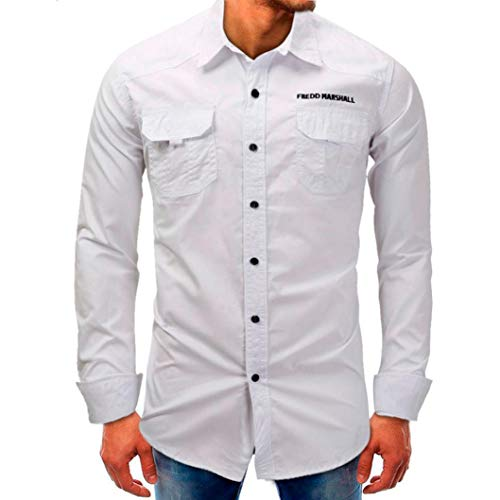 kaifongfu Men's Long Sleeve Top, Solid Color Men Beefy Button Basic Top Long Sleeve Tee Shirt (White,L) (Interlock Embroidered)