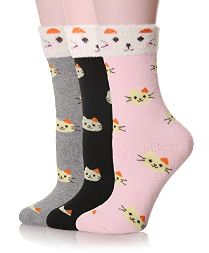Dosoni Womens Cute Super Warm Cozy Home Winter Socks Pack Of 3  Lovely Cat