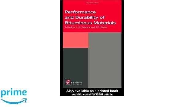 performance and durability of bituminous materials cabrera j g