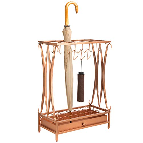 Modern Copper-Tone Metal Umbrella Stand Holder Storage Rack with Removable Base Drip Tray