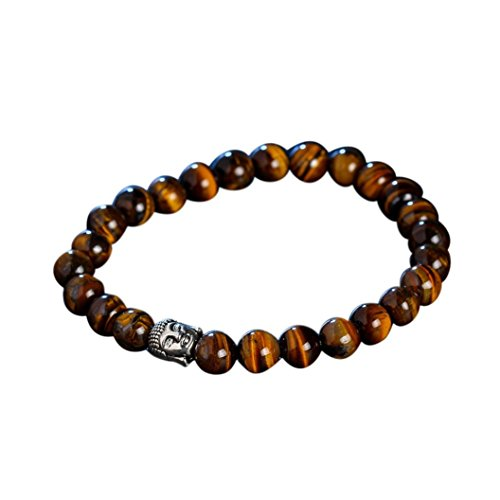 Botrong Men and Women Obsidian Bracelet Buddha Head Lava Stone Bead Bracelets - Men Shapes Head
