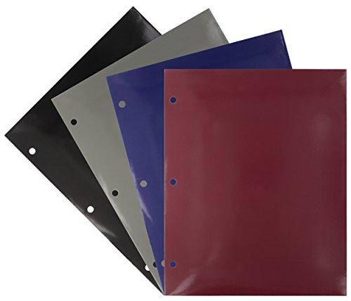 Emraw Laminated Fashion Colored 2 Pocket File Portfolio Folder - Used for Papers, Loose-Leafs, Business Cards, Compact Discs, Etc. (4-Pack)