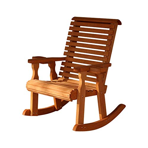 (Amish Heavy Duty 600 Lb Roll Back Pressure Treated Rocking Chair with Cupholders (Cedar Stain) )