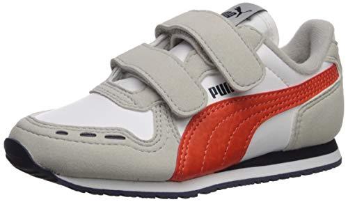 PUMA Unisex Cabana Racer Velcro Sneaker, White-Gray Violet-Cherry Tomato-Peacoat, 11 M US Little Kid