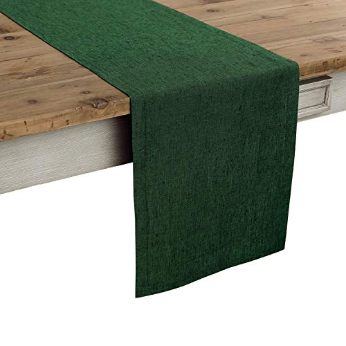 Solino Home 100% Pure Linen Table Runner Athena, Natural Fabric Handcrafted Runner, Forest Green 14 x 48 Inch