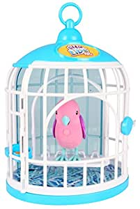 little live pets 33345 - Chirping y el pájaro Que Habla en la Jaula - Cristal Krissy, Rosa (Importado de Inglaterra)