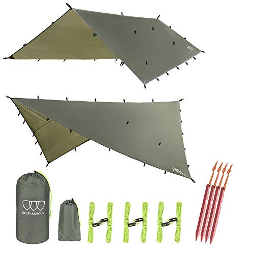 12ft Extra Large Tarp Hammock Waterproof Rain Fly Tarp 185in Centerline - Lightweight Ripstop Fabric - Stakes Included - Survival Gear Backpacking Camping Accessories - Multiple Colors (OD Green)