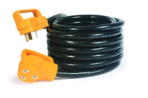 Camco Heavy Duty Outdoor Extension Cord for RV and Auto with Easy PowerGrip Handles- 30 Amp (3750W/125V), 10-Gauge 25ft (55191)]()