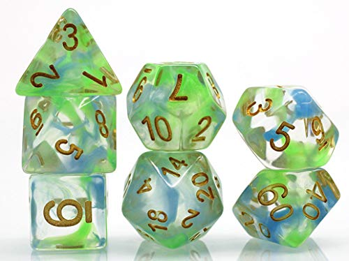 DND Dice Polyhedral Dice Set for D&D Dungeons & Dragons RPG Role Playing Game Light Swirl Series Green & Blue Transparent Resin Dice 7-Die Set