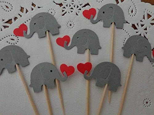 Elephants Cupcake Toppers w/h Red Hearts