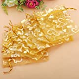 Festival Gifts & Party Supplies Gift Packaging Supplies - 100pcs Golden Luxury Heart Organza Jewelry Favor Gift Bag