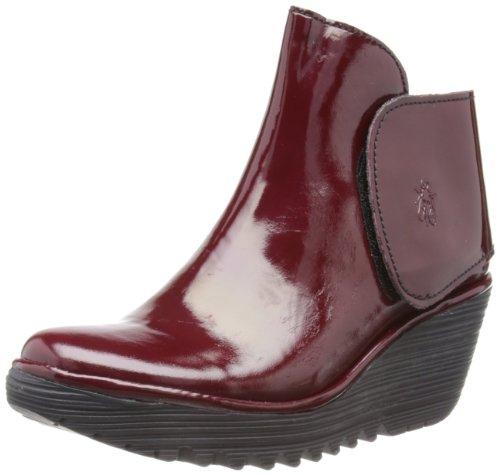 Fly London Yogi Burgund Lackleder Neu Damen Knöchel Stiefel mit Keilabsatz Schuhe