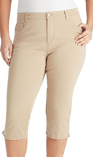 Gloria Vanderbilt Plus Amanda Solid Button Hem Capris 22W Perfect Khaki (Button Hem Capris)