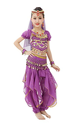 Gilrs Halloween Costume Set - Kids Belly Dance Halter Top Pants with Jewelry Accessory for Dress Up Party(Purple,L)]()
