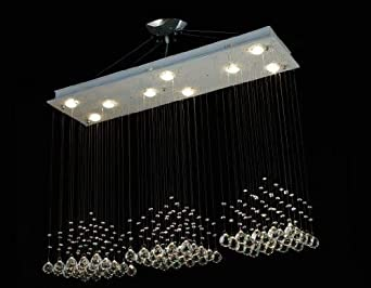 Modern Contemporary Chandelier Rain Drop Chandeliers Lighting with Crystal Balls H31-79 X W48 X D12