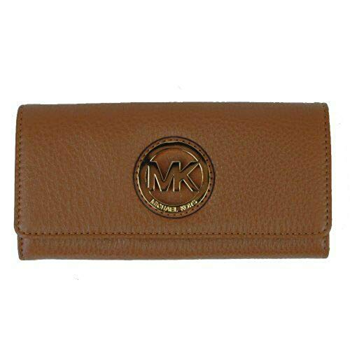 Michael Kors Fulton Flap Luggage Brown Pebbled Leather Wallet