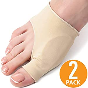 Bunion Corrector Sleeve with Gel Pad - 2-Pack - Elastic Bootie Guard, Shield, Cushion - Hallux Valgus Pain Relief - Shoe Friction Protector - Adjustable Size for Men and Women - Fit Orthopedic Shoes 62