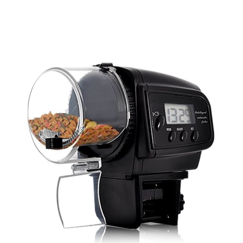 Bw Lcd - BW Automatic Fish Feeder with LCD Display With Anti-Jam Design - Black