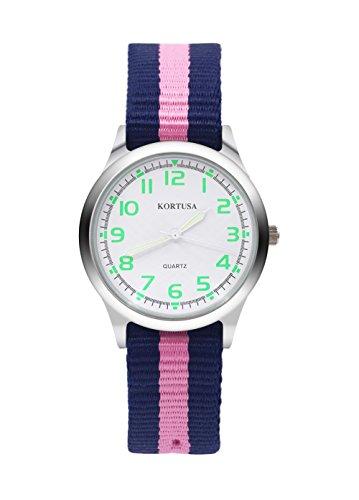 Kids Luminous Military Nylon Wrist Watch Boys Girls Waterproof Analog Quartz Watch with Adjustable Nylon Strap (Blue Pink) ()